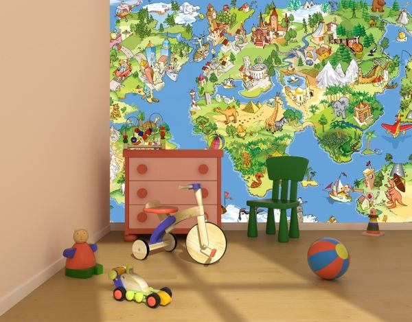 Kids Map Of The World Wallpaper Murals By Homewallmurals - Map of the world wallpaper for kids