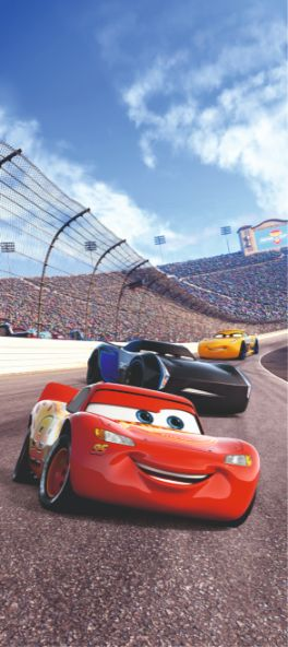 Lightning McQueen racing mural wallpaper 90x202cm
