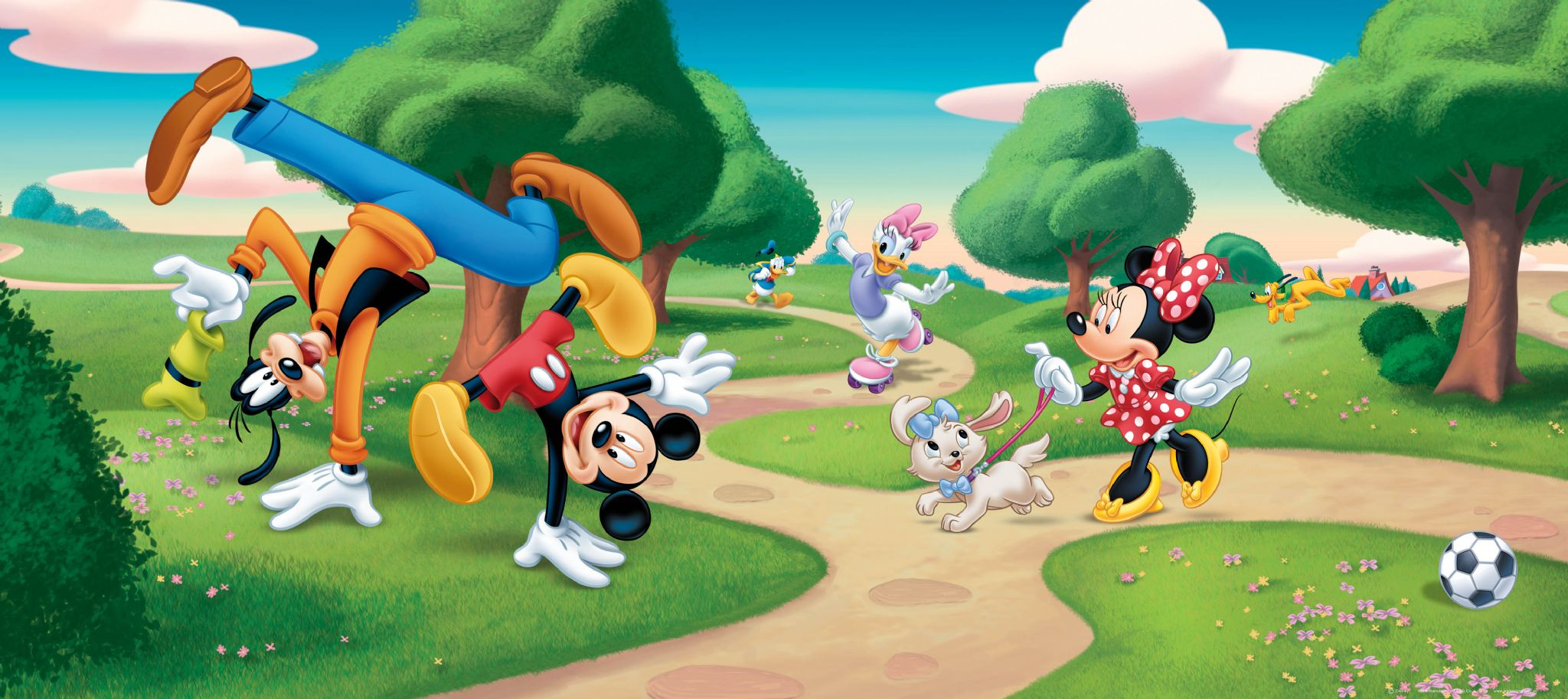 Mickey Mouse Park Panoramic Mural Wallpaper 202x90cm