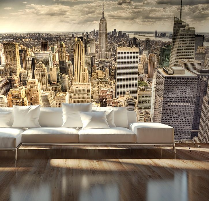Skyline New York half sepia wallpaper murals by Homewallmurals