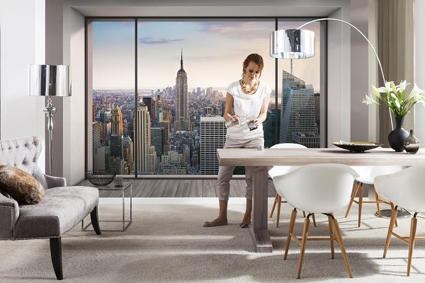 new york penthouse wall mural. Black Bedroom Furniture Sets. Home Design Ideas