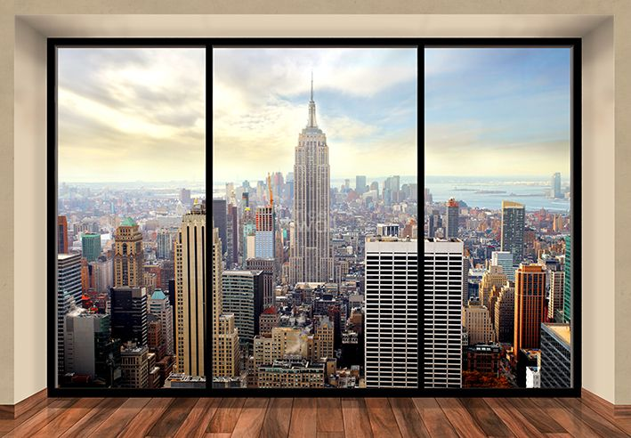 New york skyline penthouse wall mural buy at allwallpapers for Acheter poster mural new york