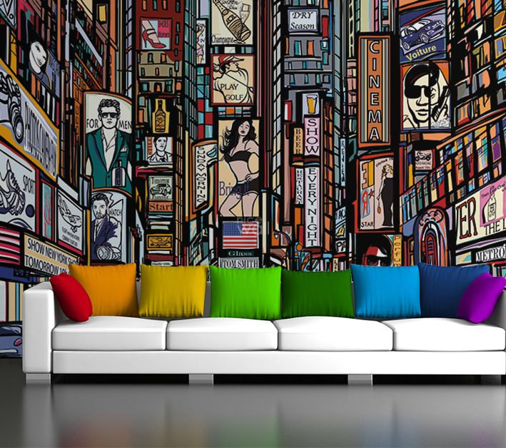 New york skyline wall wallpaper cartoon style for Wallpaper home new york