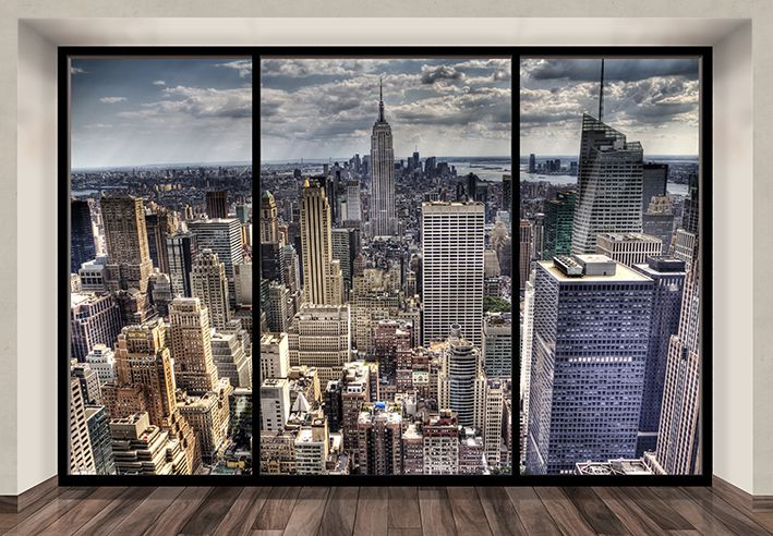 New york skyline wallpaper murals penthouse for Cityscape wall mural
