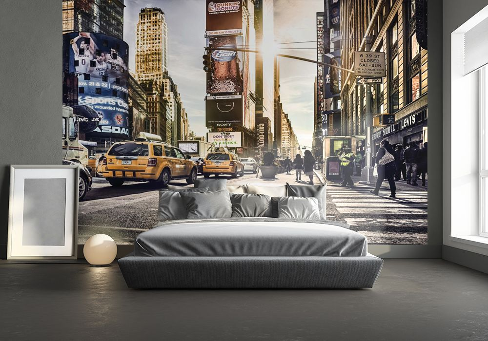 new york times square wall mural. Black Bedroom Furniture Sets. Home Design Ideas