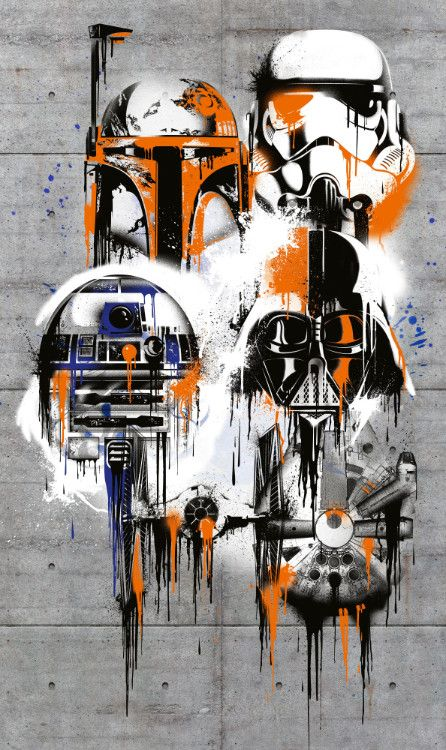200x120cm Large Wallpaper Easy To Install Star Wars Wall Mural Poster Drawing 4036834790226 Ebay