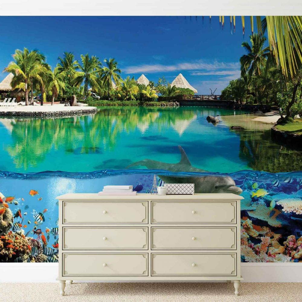 Giant size wall mural wallpaper ocean homewallmurals shop for Dolphins paradise wall mural