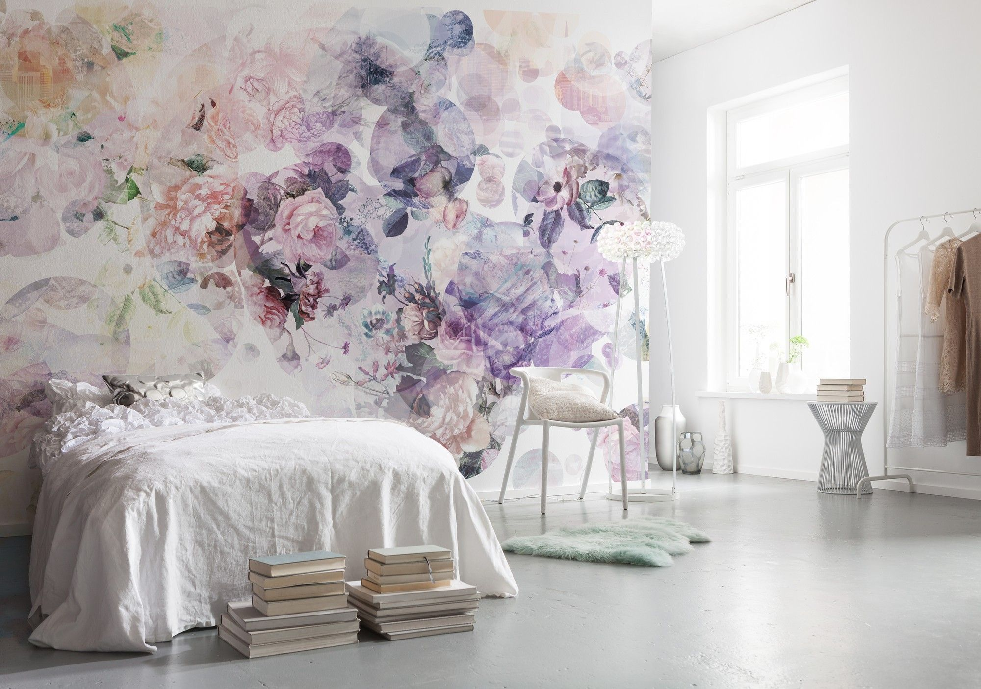 Non Woven Wallpaper Pink Purple Flowers