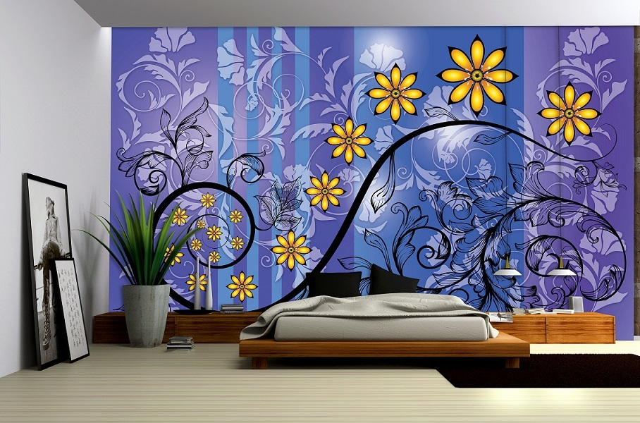 Abstract flower art wall murals for wall homewallmurals - Flower wallpaper mural ...