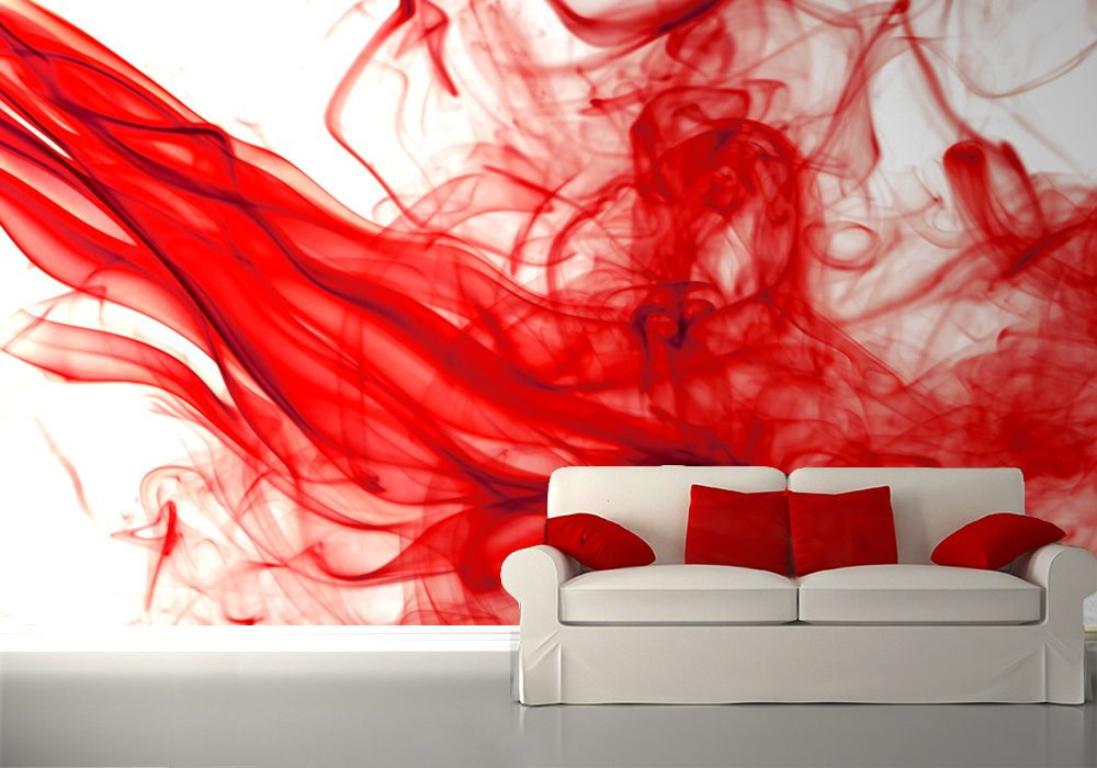Red and white bedroom wall murals - Camera da letto rossa ...