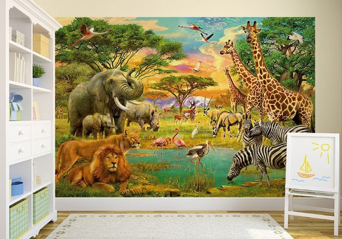 Safari wild animals wall mural wallpapers for Animal wall mural