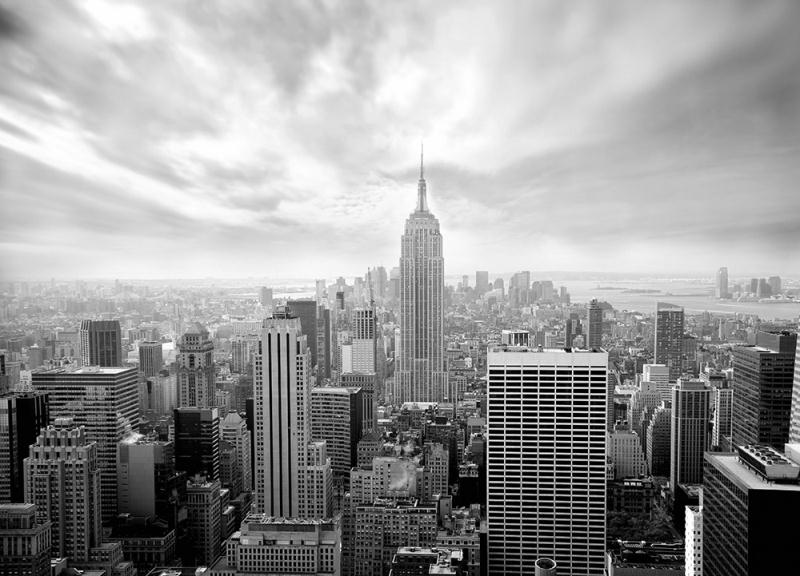 Skyline new york black and white wallpaper murals by homewallmurals