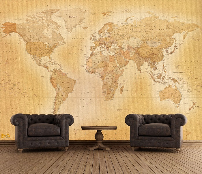 Giant Vintage World Map Wallpaper Murals