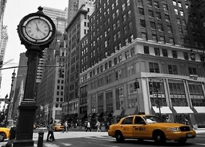 Awesome Wall Mural NEW YORK STREET VIEW Photo Wallpaper Wall Art CLOCK AND YELLOW  TAXI Part 23