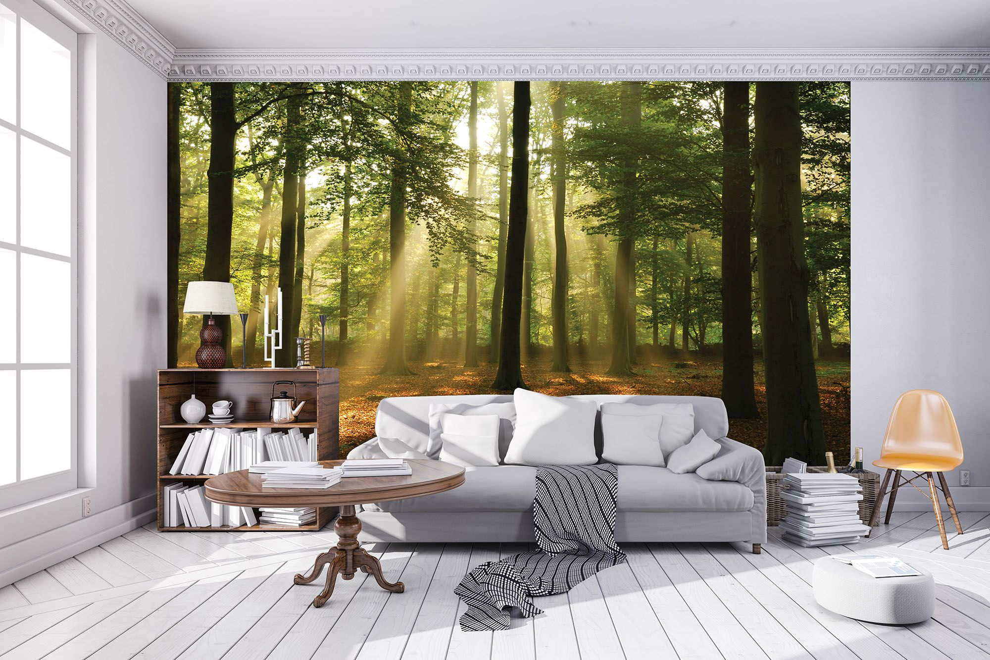 Living room giant Wall Mural photo wallpaper 368x254cm Green Summer forest