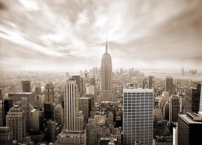 Wall Mural SKYLINE NEW YORK Wallpaper 320x230cm GIANT SEPIA WALL ART Living room