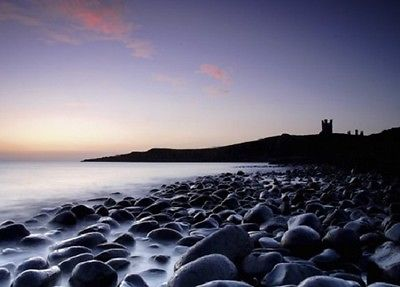 Wall mural STONE COAST photo wallpaper wall art BLACK STONES AND CASTLE