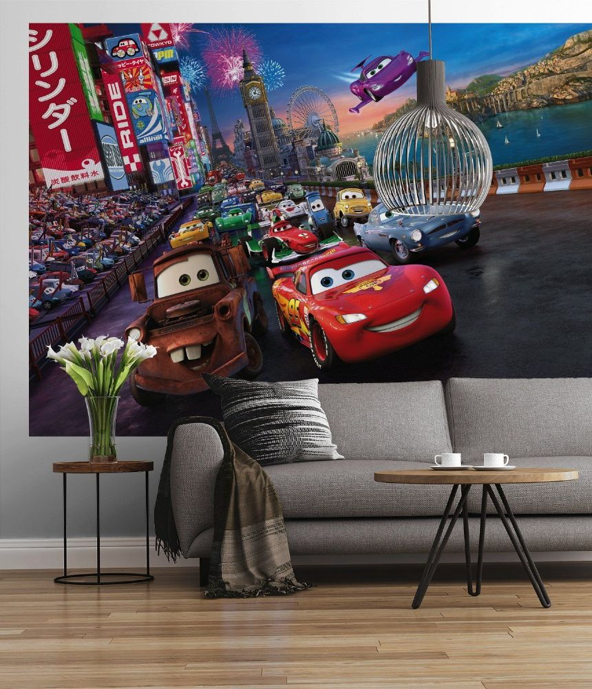 Disney cars race design paper wallpapers buy online for Disney cars large wall mural
