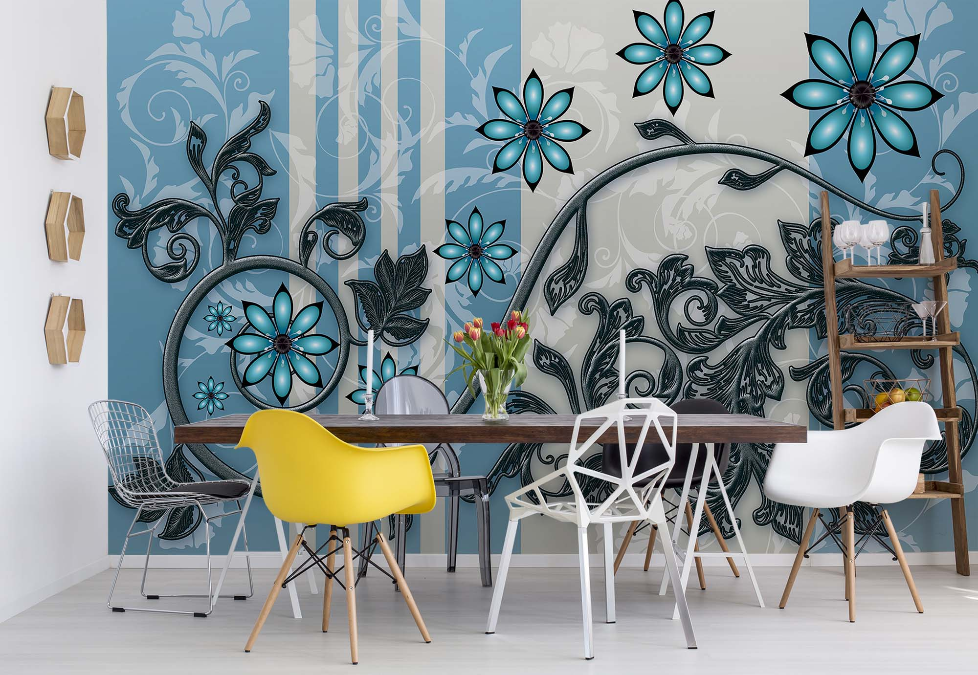 Wall Mural Wallpaper For Bedroom Blue Abstract Flowers