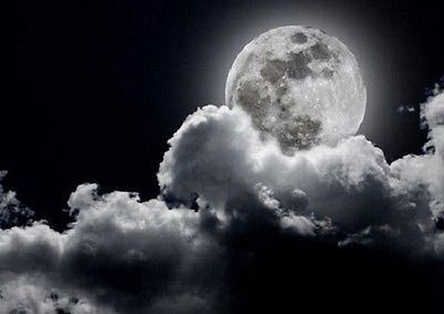 Wall mural wallpaper FULL MOON - BLACK & WHITE Large size wall art - Cloudy sky