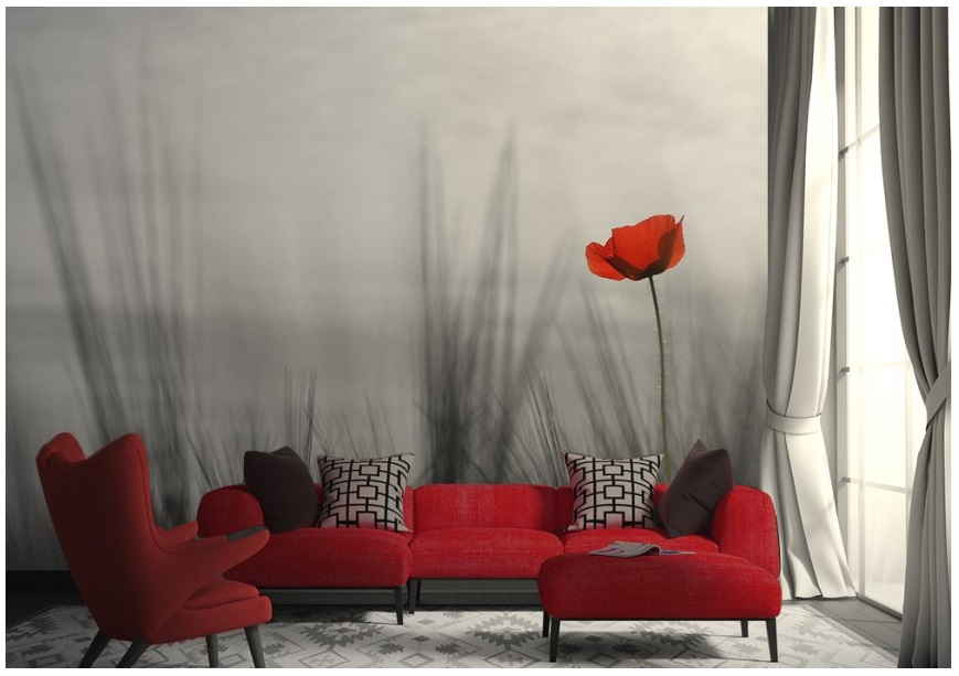 Bedroom wall murals red poppy online store - Flower wallpaper mural ...