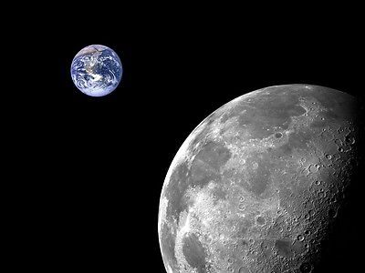 "Wall mural wallpaper MOON AND EARTH ""COSMOS"" photo wall art Black & Silver Space"