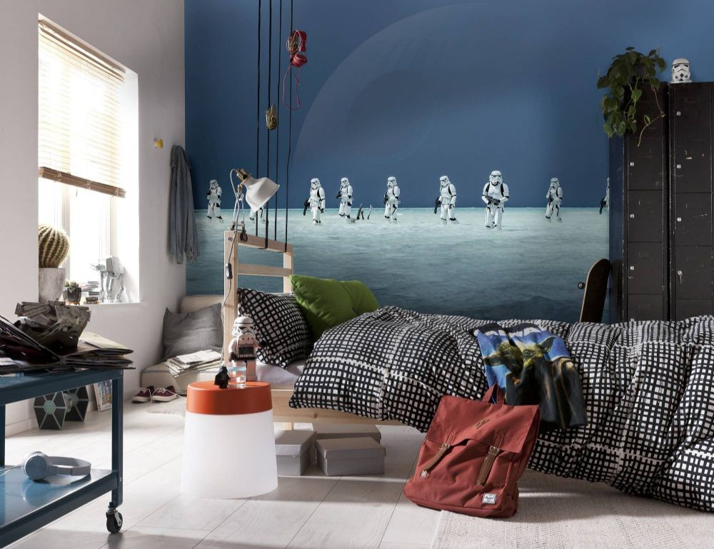 star wars wall mural wallpaper buy it now. Black Bedroom Furniture Sets. Home Design Ideas