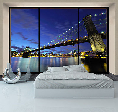 WALLPAPER MURAL New York Brooklyn Bridge at night WALL GIANT DECOR  window view
