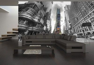 Wallpaper mural photo new york times square giant wall for New wallpaper for living room