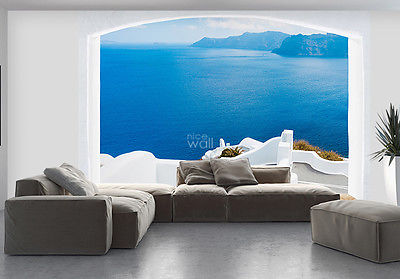 WALLPAPER MURAL PHOTO Santorini Greece coast WALL DECOR PAPER GIANT ART Seaside - 131203552238