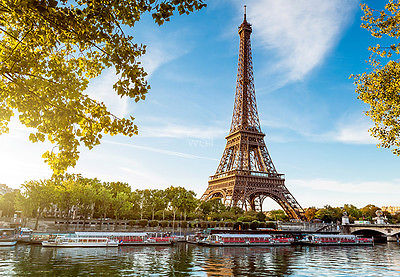 WALLPAPER MURAL PHOTO Tour Eiffel Paris France WALL DECOR PAPER GIANT ART blue