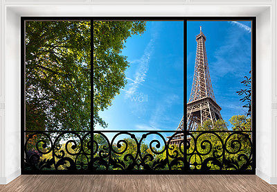 WALLPAPER MURAL PHOTO Tour Eiffel Paris France WALL DECOR PAPER GIANT ART window