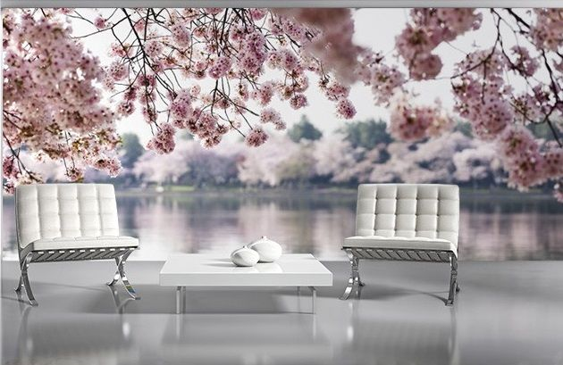 Wallpaper Mural For Large Size Wall Pink Flowers