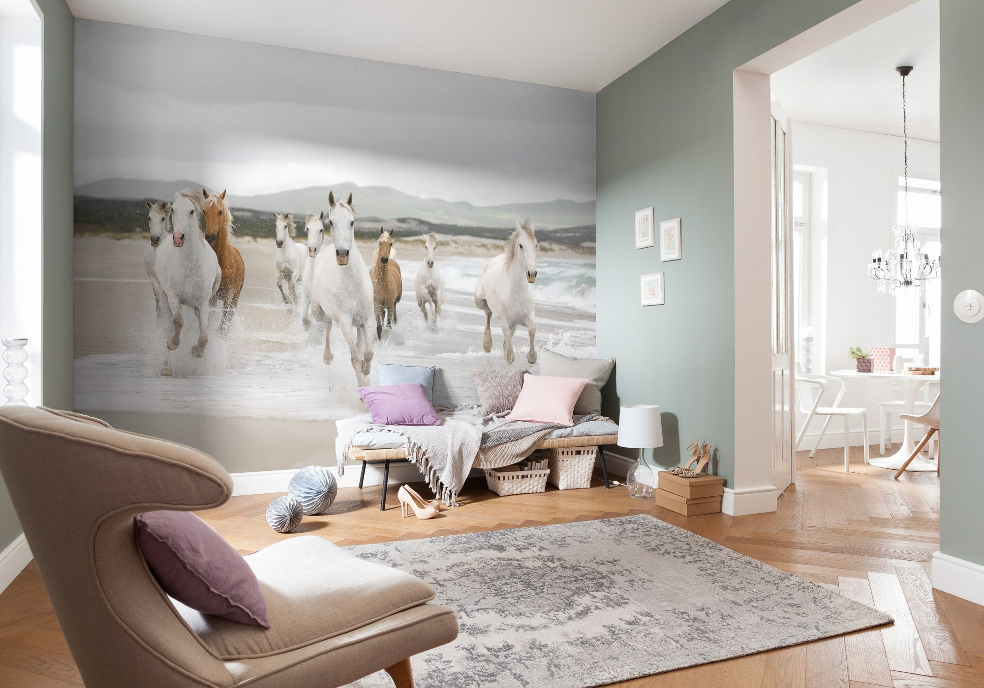 White horses paper wallpaper homewallmurals for Poster jugendzimmer
