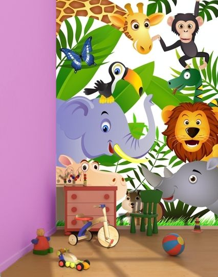 "Wild animals in the Jungle ""White"" wall mural"