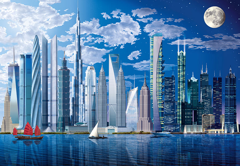 World s tallest buildings cityscape wall mural for Cityscape mural