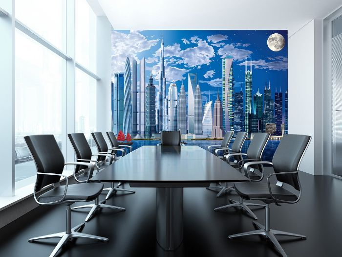 World s tallest buildings cityscape wall mural