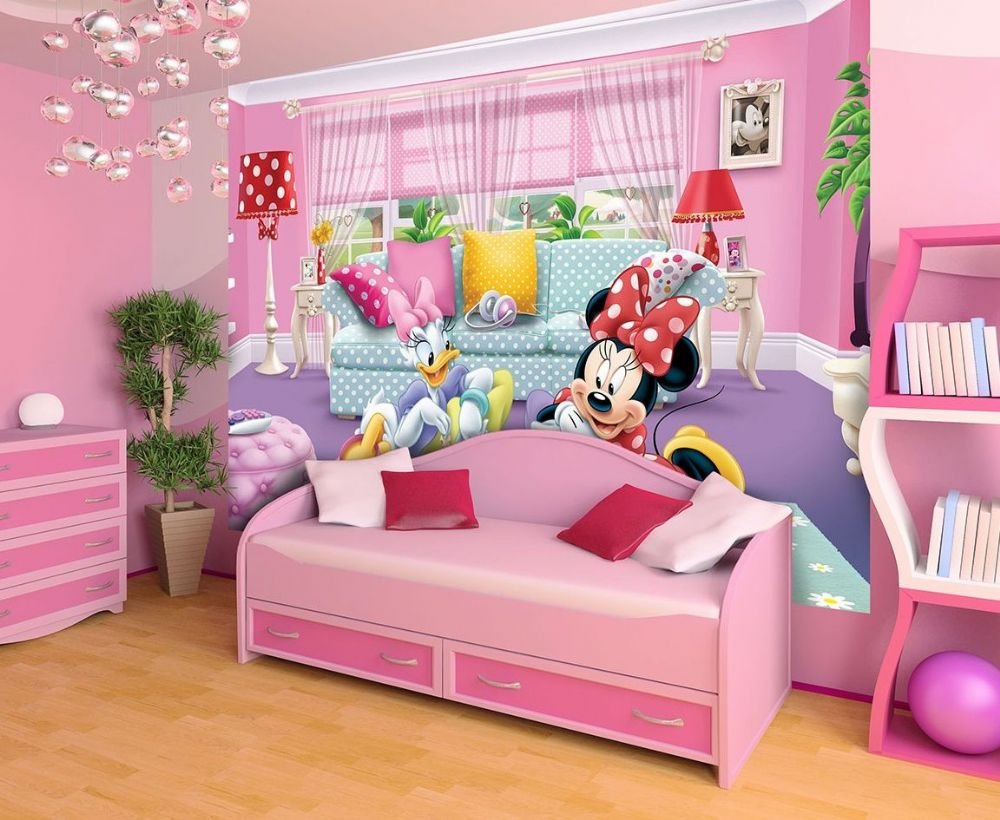 Minnie deasy disney wallpaper girl 39 s room homewallmurals for Girls murals