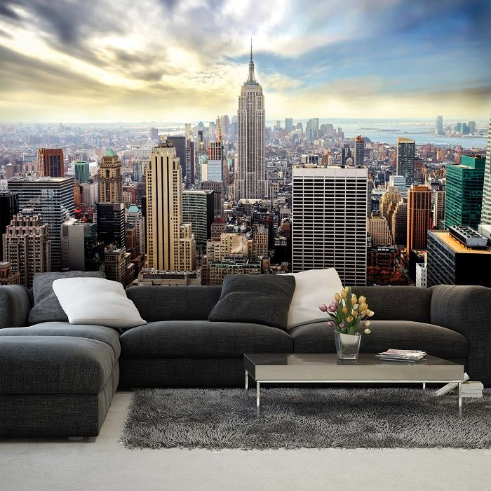 new york blue skyline wall mural homewallmurals