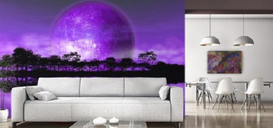 Rising moon wallpaper mural