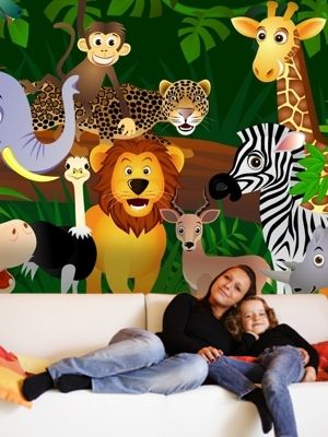 XL Wild animals in the Jungle wall mural