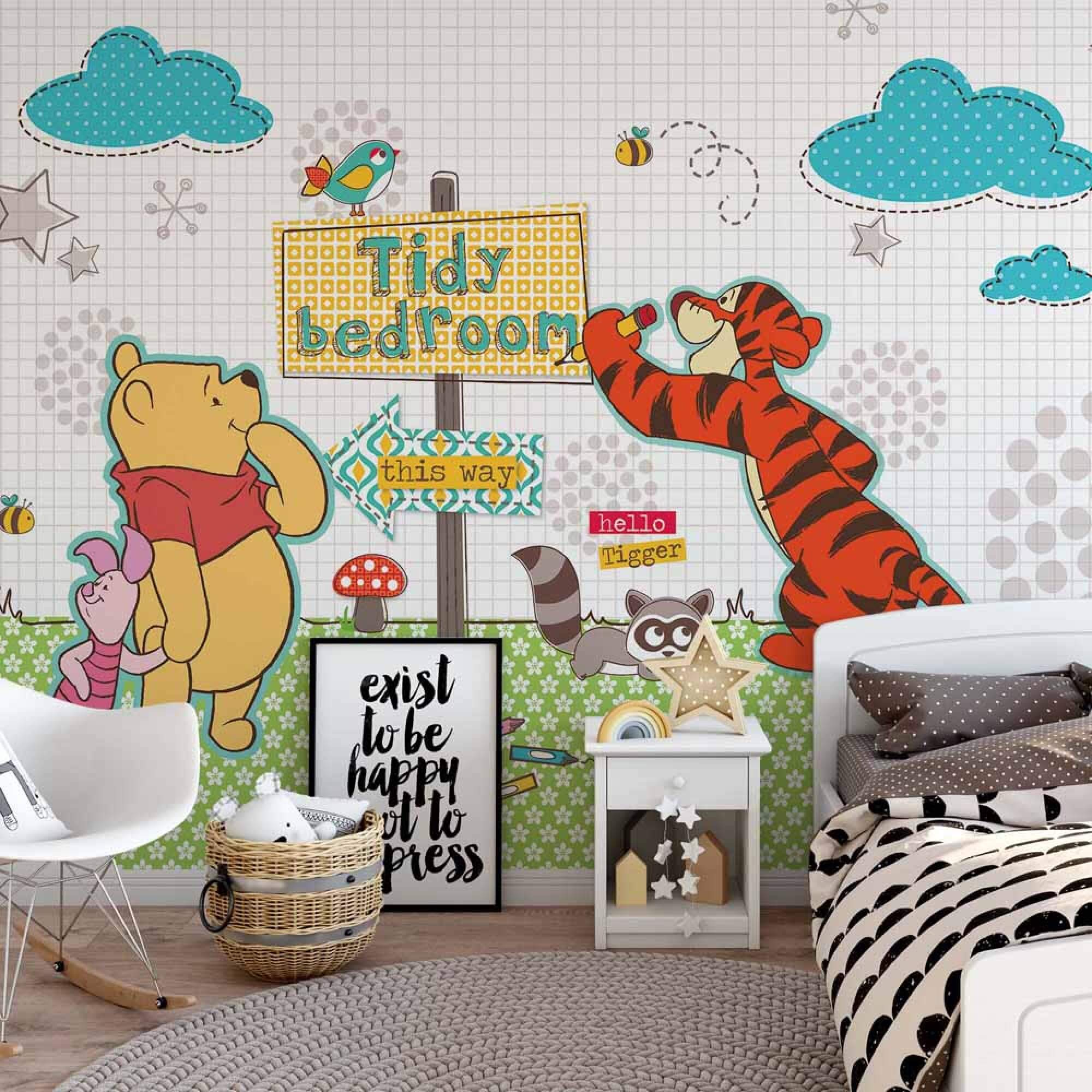 79x71inch Wall mural wallpaper for kids bedroom Disney Winnie Pooh baby room art