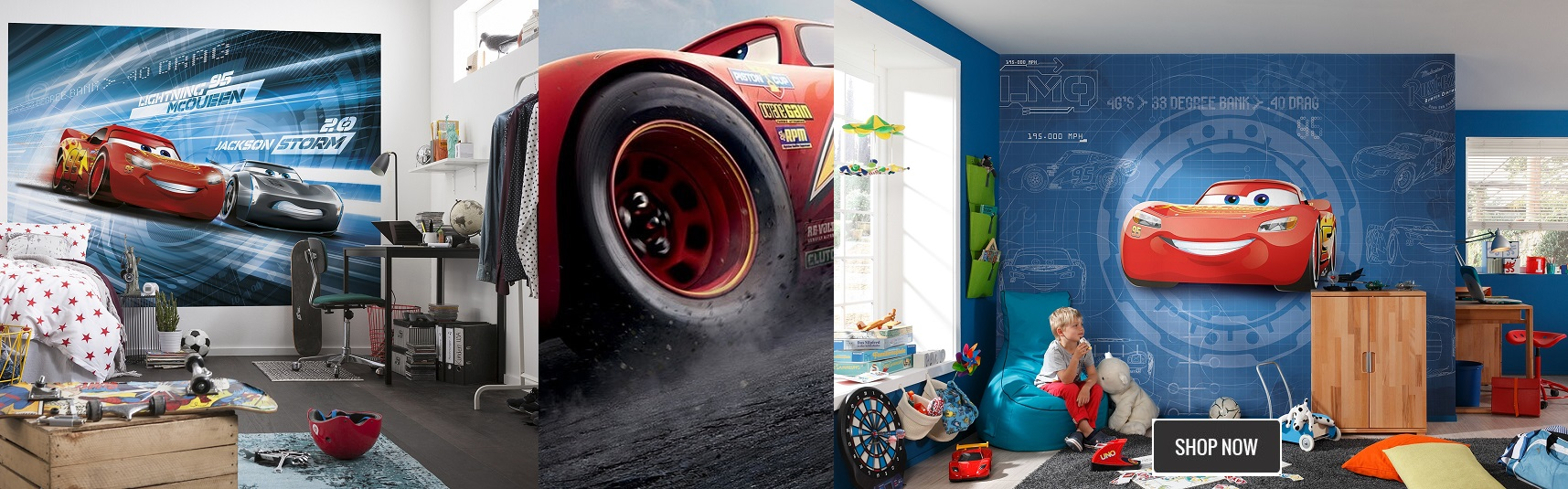 Children''s bedroom wallpaper murals Disney Cars range